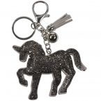 PORTE CLES CHEVAL STRASS GRIS