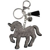 PORTE CLES CHEVAL STRASS ARGENT