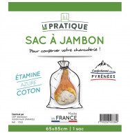 SAC A JAMBON COTON ECRU 65X85 CM
