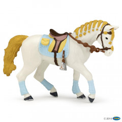 FIGURINE CHEVAL DE LA CAVALIERE ADULTE FASHION BLEUE