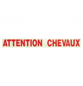 AUTOCOLLANT ATTENTION CHEVAUX