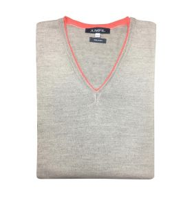 PULL COL V  TAUPE ORANGE
