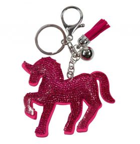 PORTE CLES CHEVAL STRASS ROSE