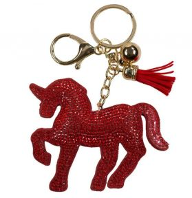 PORTE CLES CHEVAL STRASS ROUGE